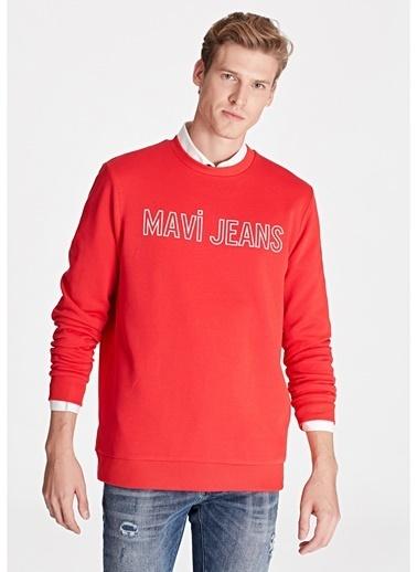 Mavi Mavi Kırmızı Baskılı Sweatshirt Kırmızı